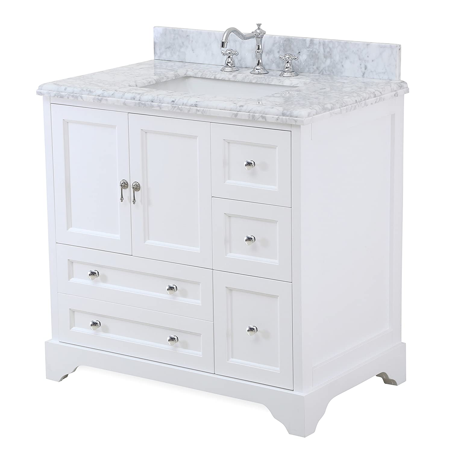 Madison 36-inch Bathroom Vanity (Carrara/White): Includes Italian ...