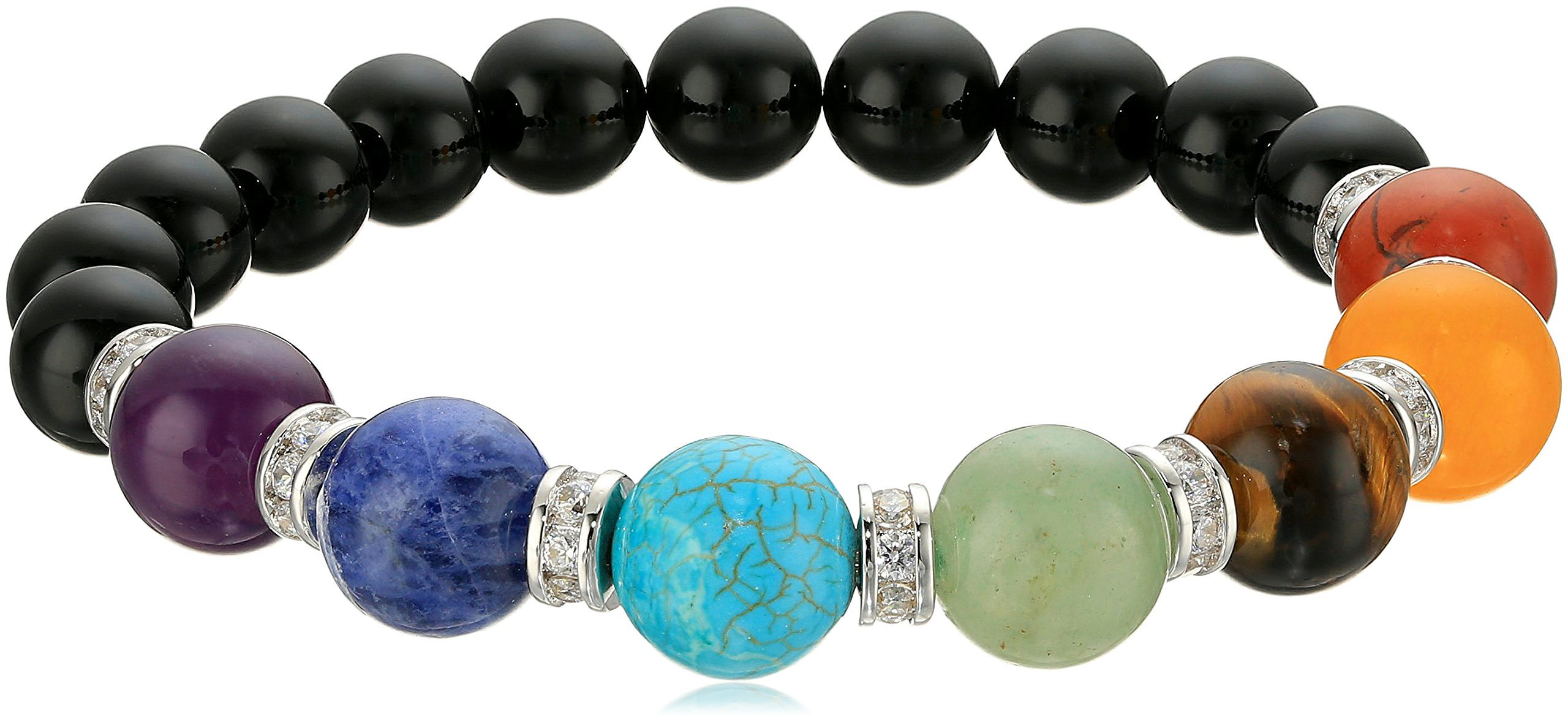 Genuine Black Agate and Seven Chakra Stone with Fine Silver Plated Bronze Cubic Zirconia Accents Beaded Bracelet, 6.5''