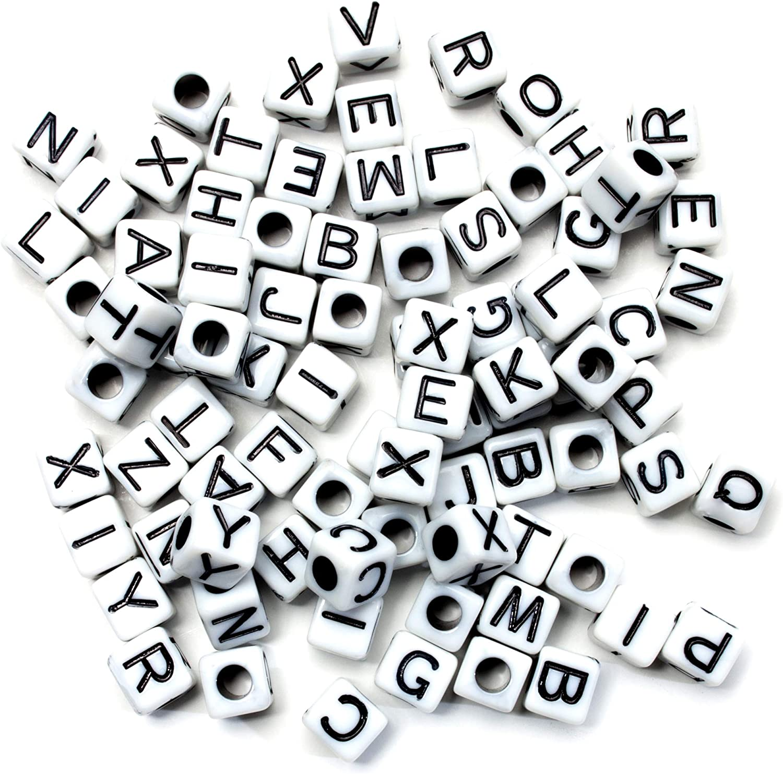 Acrylic Square Black /& White 6mm x 6mm Random Initial Alphabet Letter Beads