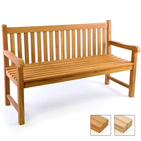 Divero 3 Sitzer Bank Holzbank Gartenbank Sitzbank 150 Cm Zertifiziertes Teak Holz Behandelt
