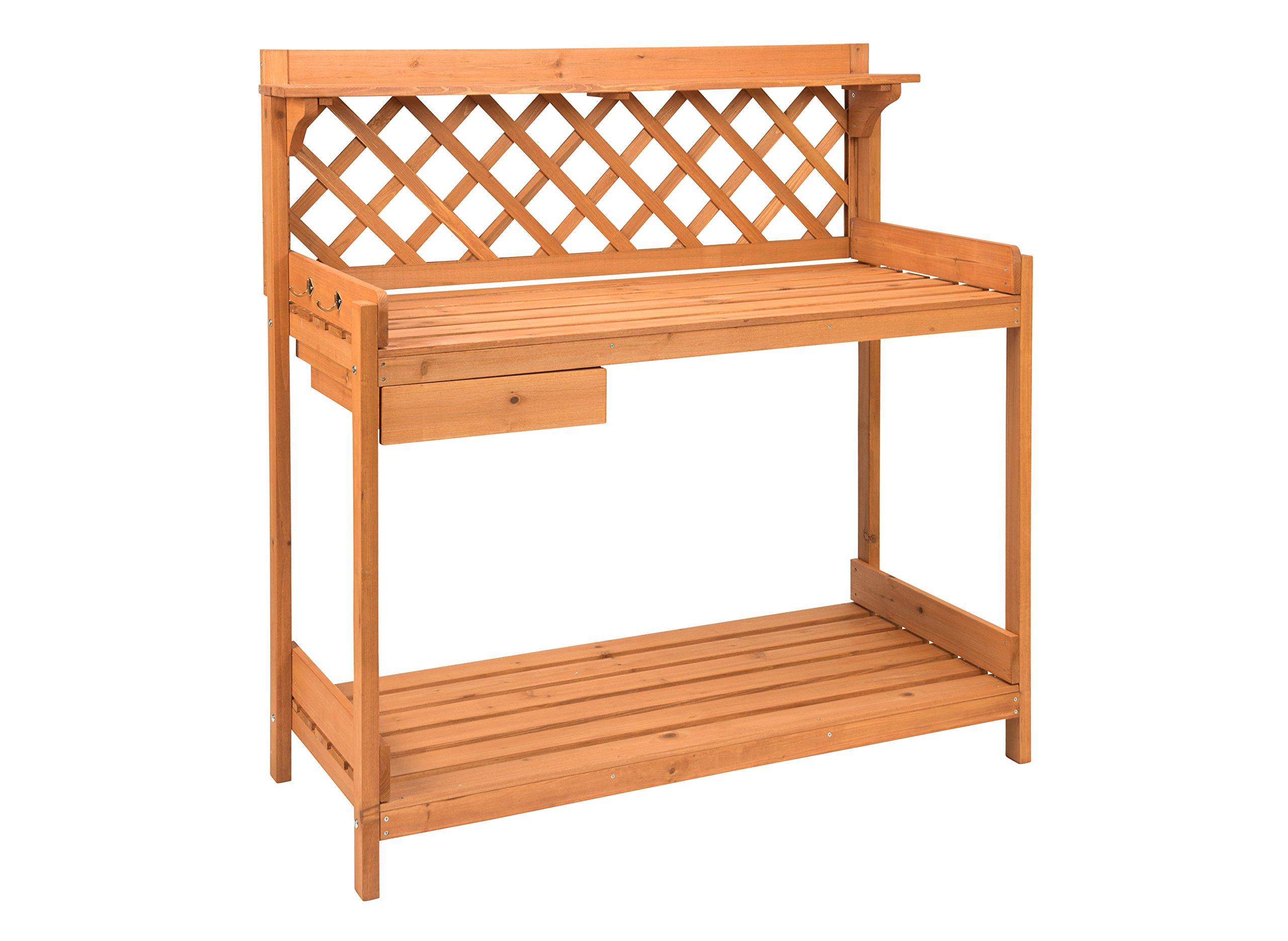 Trademark Innovations Fir Wood Garden Potting Table