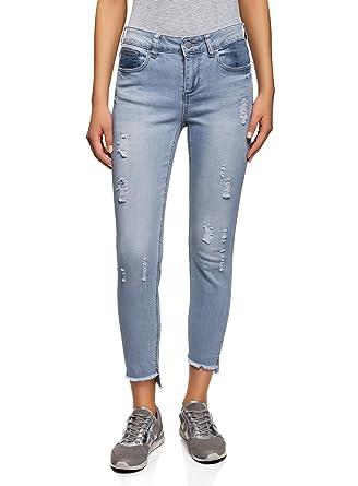 oodji Ultra Femme Jean Skinny avec Déchirures  Amazon.fr  Vêtements ... 6f9043386f33