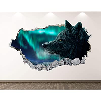 "West Mountain Wolf Wall Decal Art Decor 3D Smashed Kids Animal Sticker Mural Nursery Boys Gift BL20 (22"" W X 14"" H): Home & Kitchen"