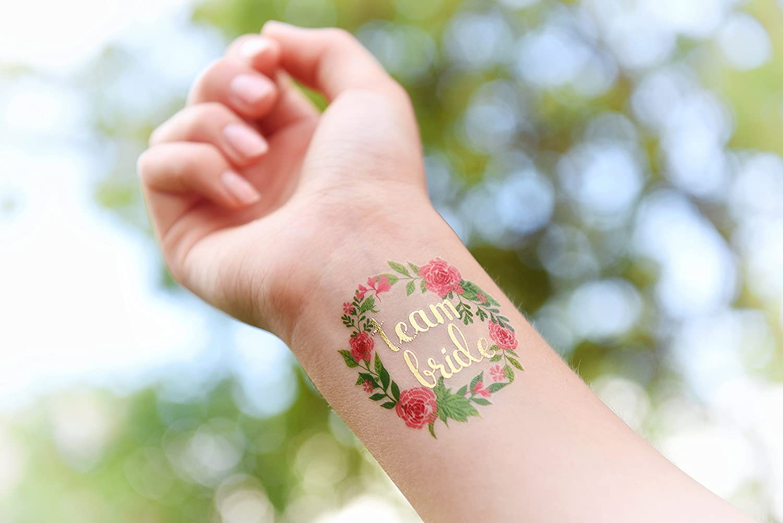 Adhesivo Crew® Oro Tattoo Set Team Bride novia JGA Flores Tatuajes ...