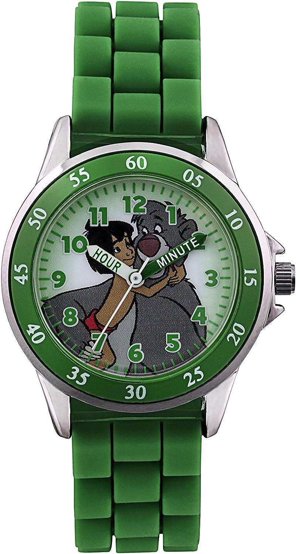 Reloj Digital para niños con diseño de El Libro de la Selva, con Esfera Multicolor de visualización analógica y con Correa de Caucho Verde (JBK3007)