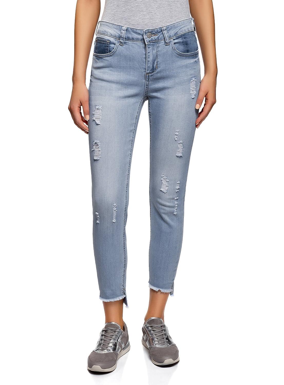 bluee (7000w) oodji Ultra Women's Ripped Skinny Jeans