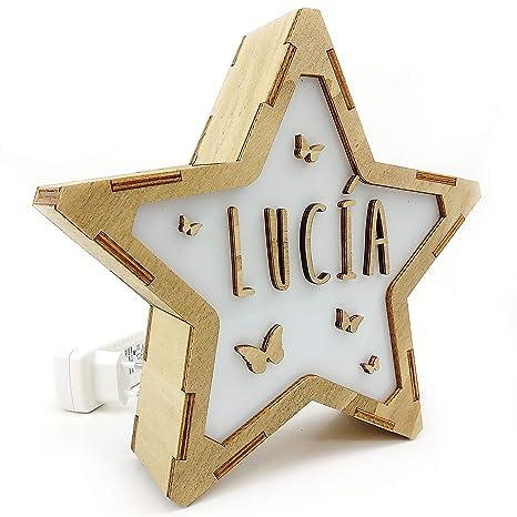 Lámparas de Mesa Noche Infantiles Personalizadas con Nombre | Estrella de Madera Luminosa | Varios diseños | Clase de eficiencia energética A | ...