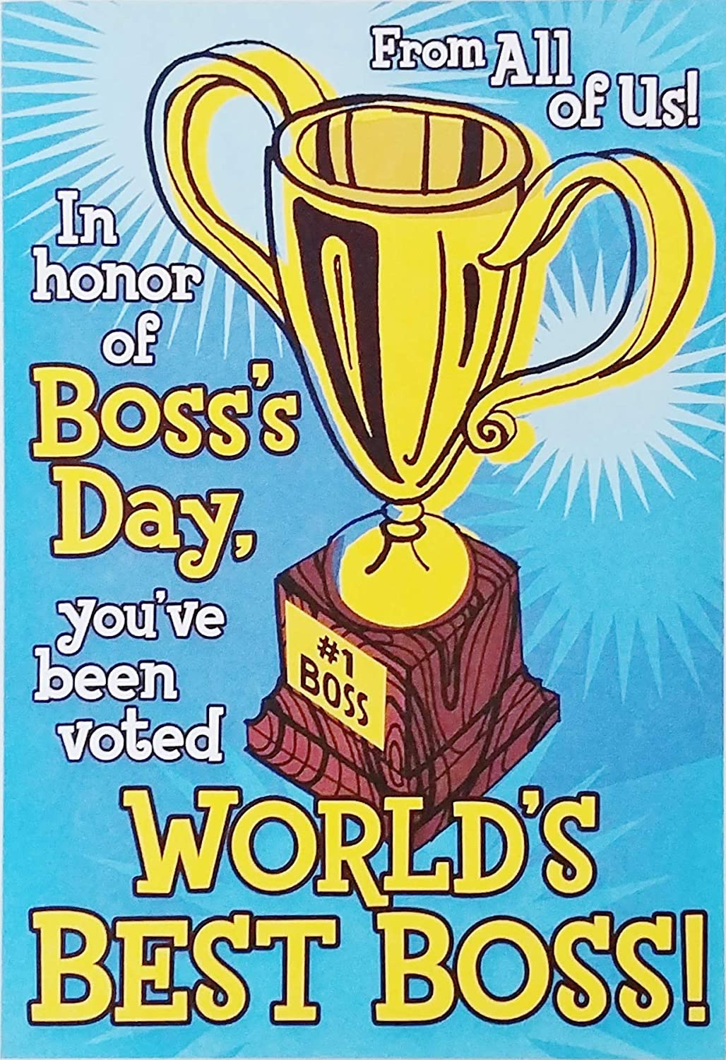 Amazon Worlds Best Boss Happy Bosss Day Greeting Card From