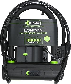 Citadel Bike Lock - Compact, Adult/Kids Bicycle Chain, U-Lock Combo Cable