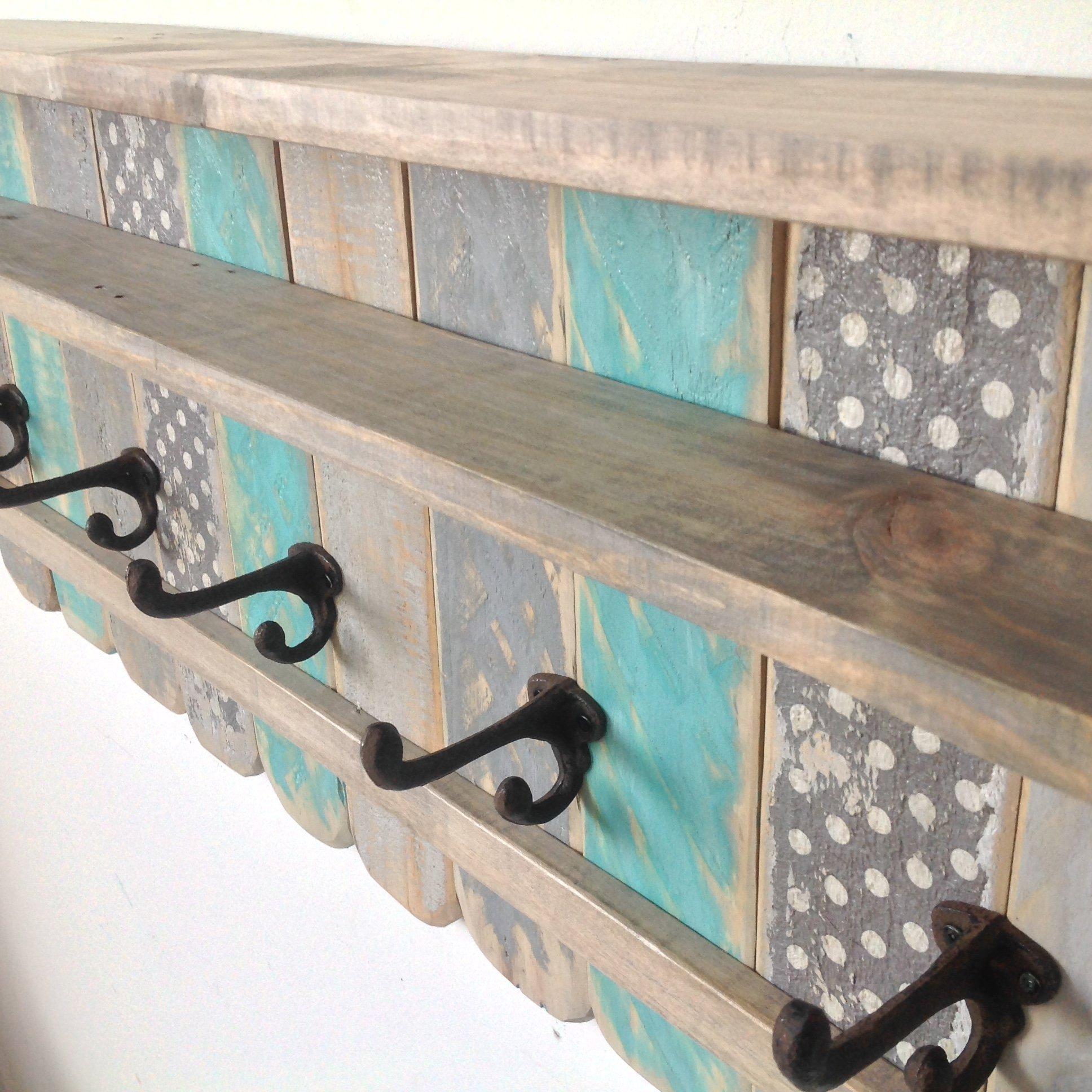 Entryway Wood Shelf / Rustic Pallet Coat Rack / Reclaimed Wood Shelves / Cast Iron Coat Hooks / Bohemian Decor / Bathroom Towel Rack