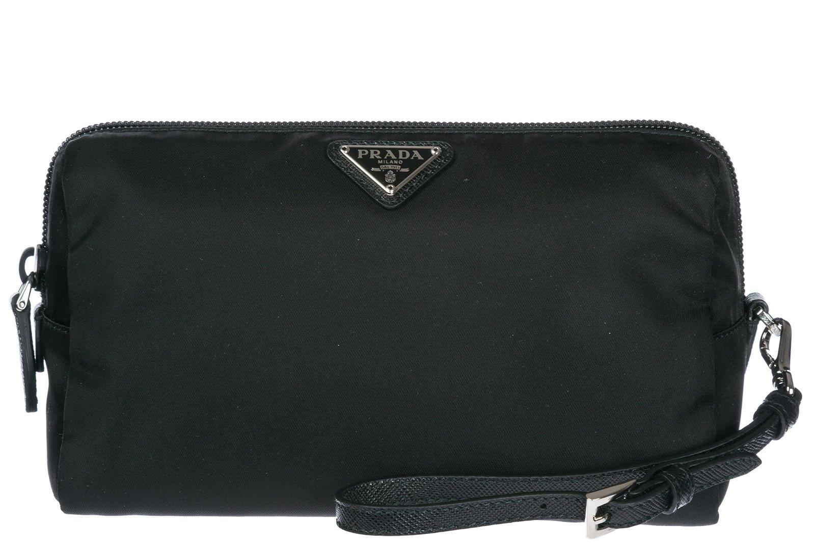 Prada women's travel makeup beauty case in Nylon black