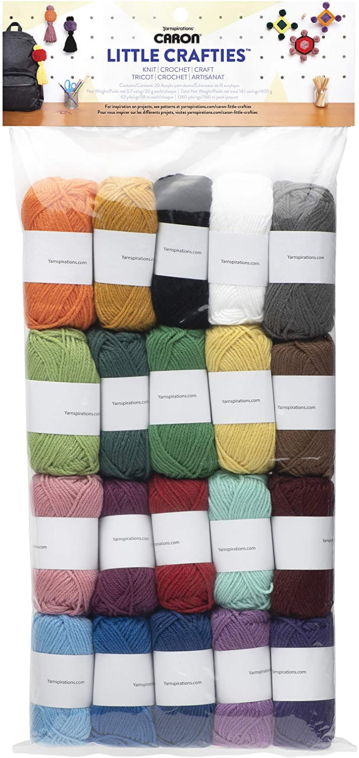Caron Little Crafties 20 Assorted Acrylic Yarn Skeins 63yd Each for Knitting and Crochet Projects , Multipack Starter Kit