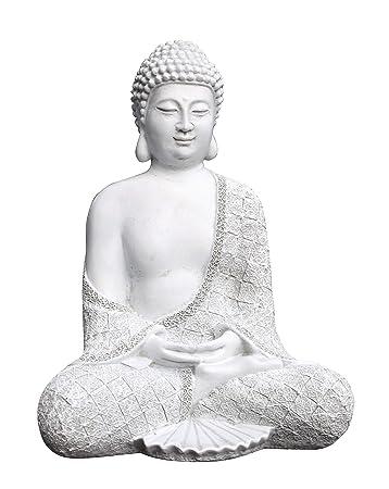 Tiefes Kunsthandwerk Steinfigur Buddha sitzend - Antik-Weiss, Garten ...