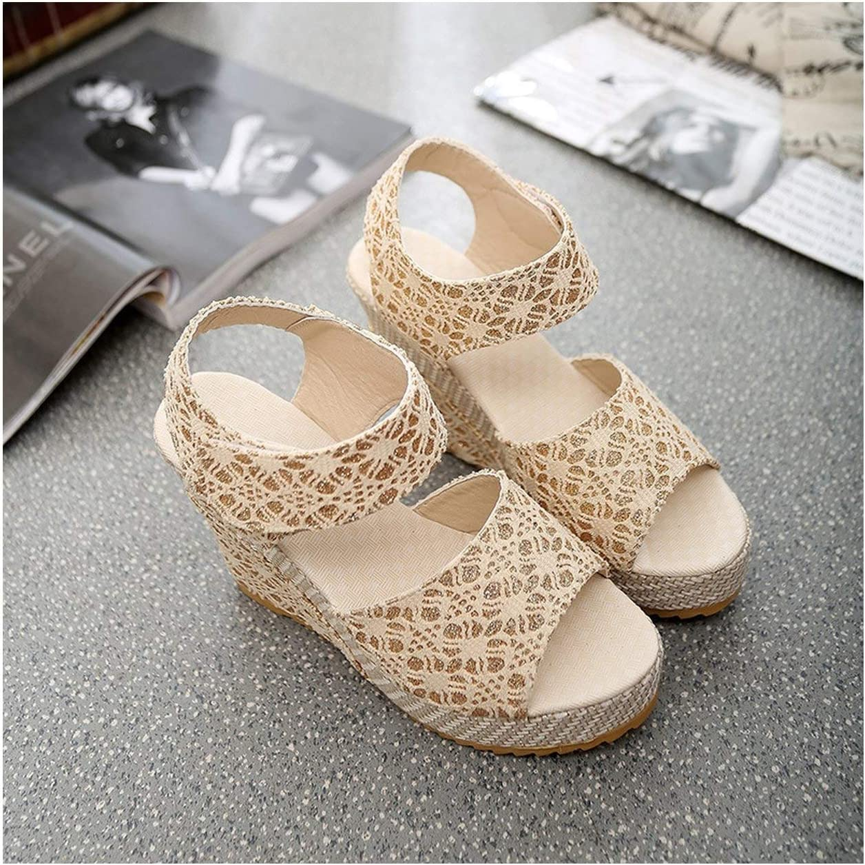 HANBINGPO Women Sandals New Summer Fashion Lace Hollow Gladiator Wedges Shoes Woman Slides Peep Toe Hook /& Loop Solid Lady Casual,3376 Beige,5