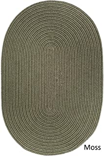 product image for Rhody Rug Woolux Wool Oval Braided Rug (5' x 8') - 5' x 8' Oval Moss Green