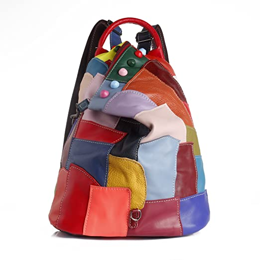 Amazon.com | Cute Patchwork Colorful Women Backpack Fashion Cool Book Bag Girl Trendy Knapsack | Casual Daypacks