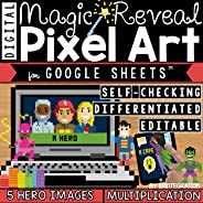 Multiplication & Division Fact Practice on Google Sheets - Self Checking - Hero Themed - Magic Reveal - Digital Pixel Art (E