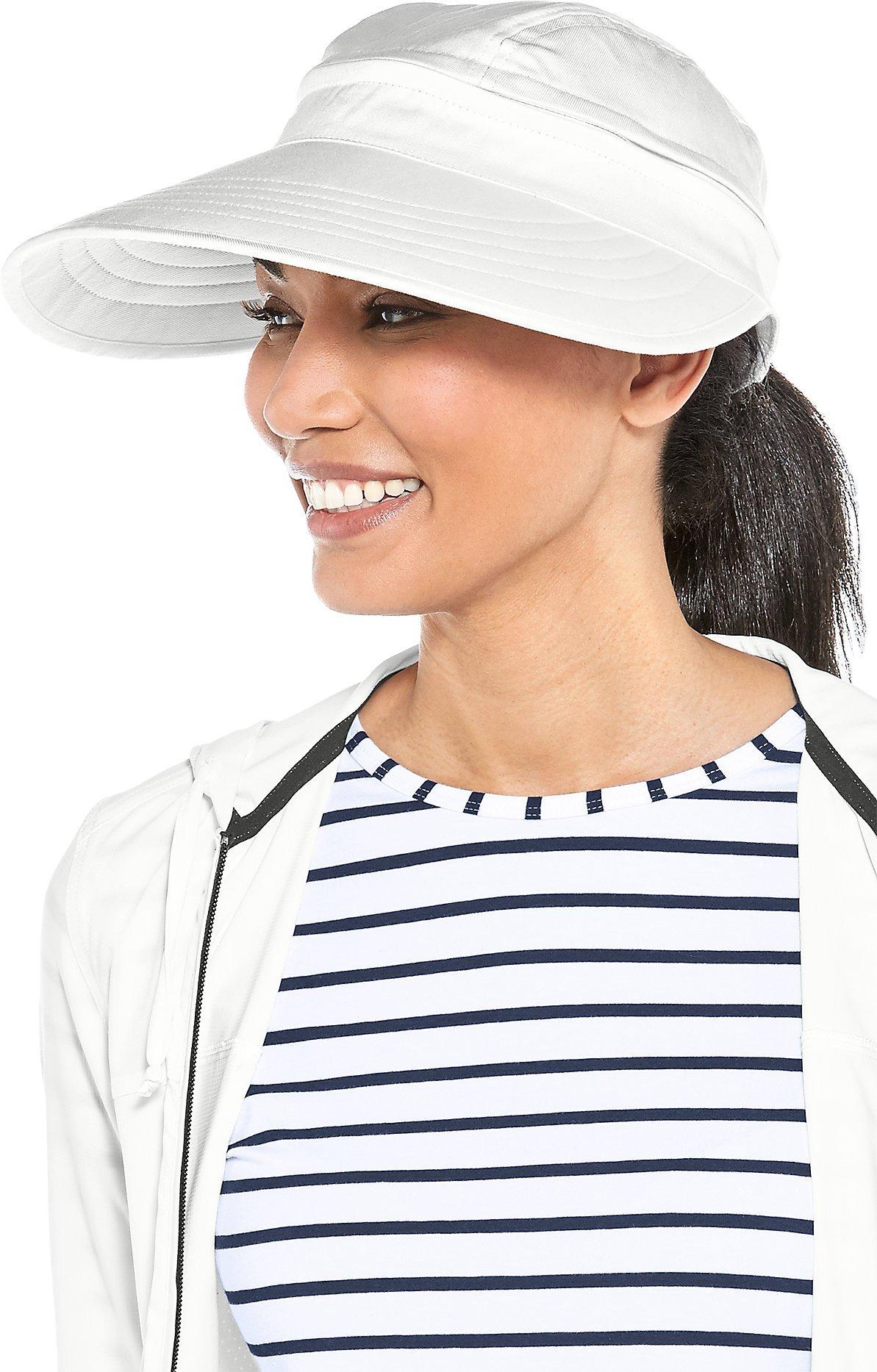 Coolibar UPF 50+ Women's Bel Aire Zip-Off Sun Visor - Sun Protective (One Size- White)