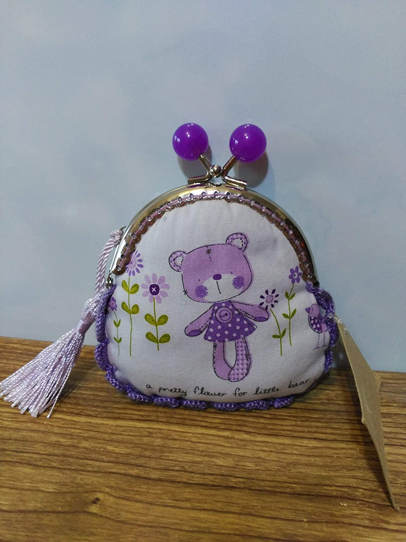 monedero tela oso lila hecho a mano con remate a ganchillo ...