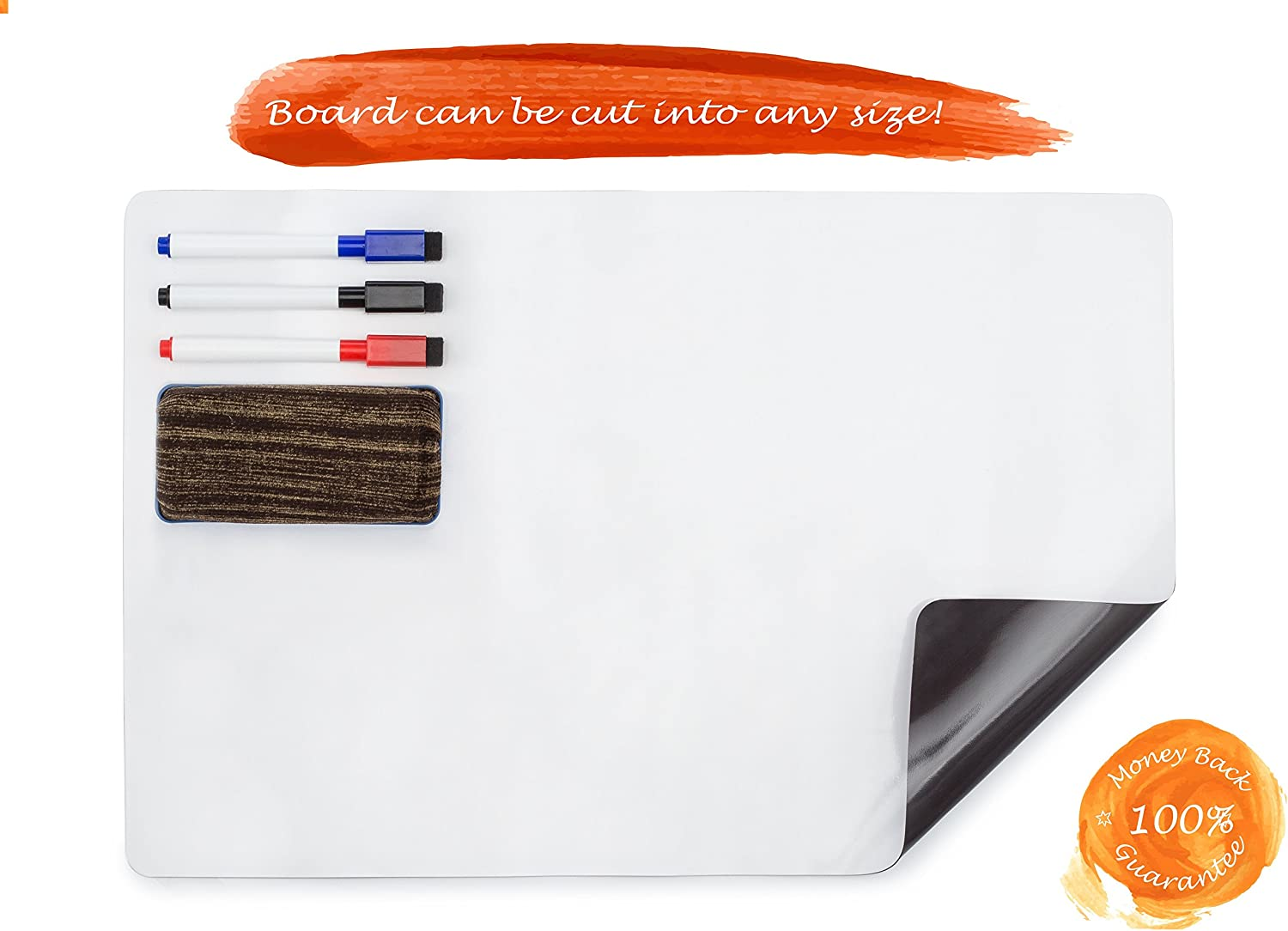17 x 11 Refrigerator Whiteboard Day Planner Messages Magnetic Dry Erase Board for Fridge to-Do Lists with 3 Markers /& Eraser Ideal for Weekly Reminders