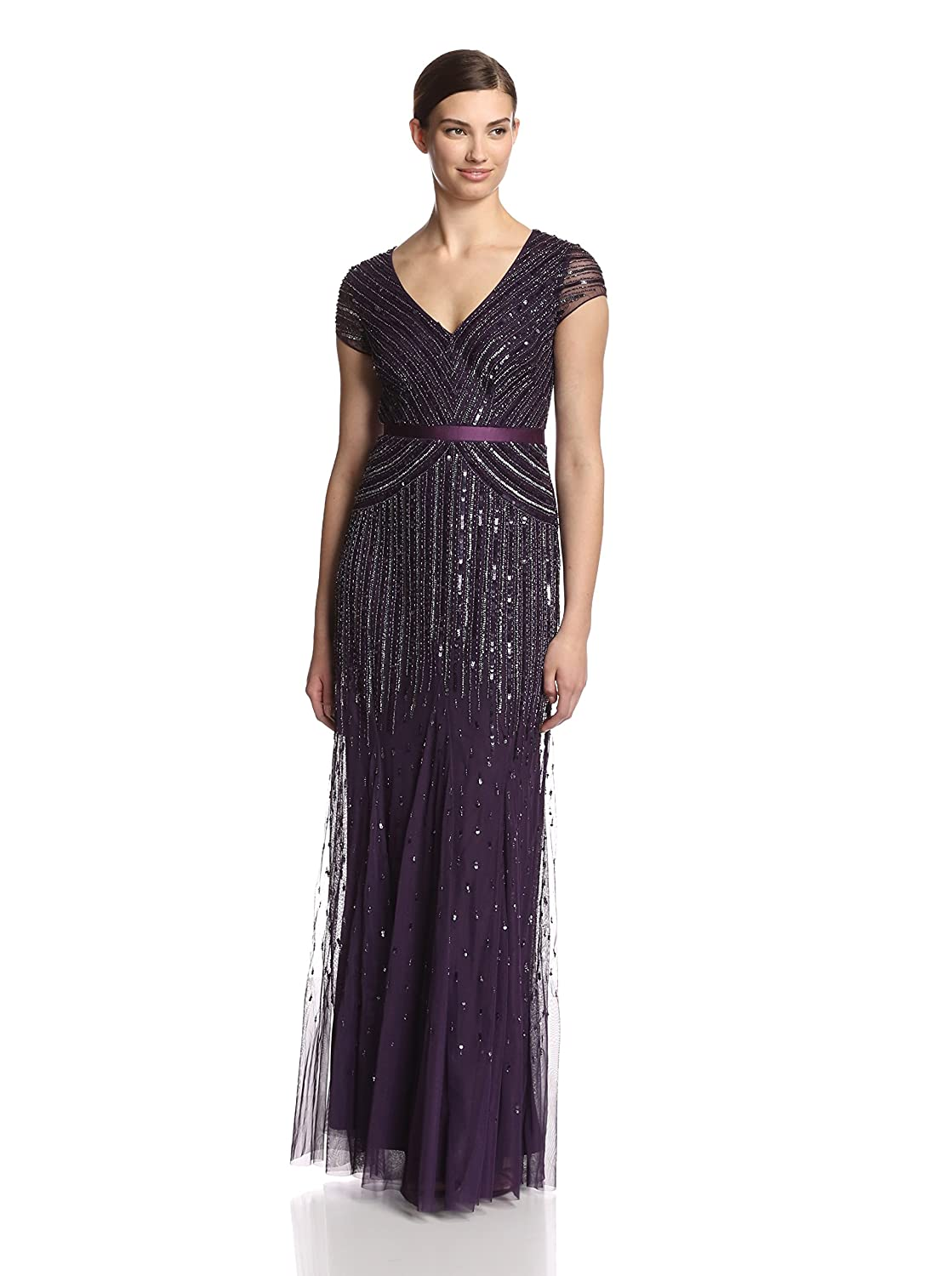 Adrianna Papell Womens Long Beaded V-Neck Dress With Cap Sleeves and Waistband