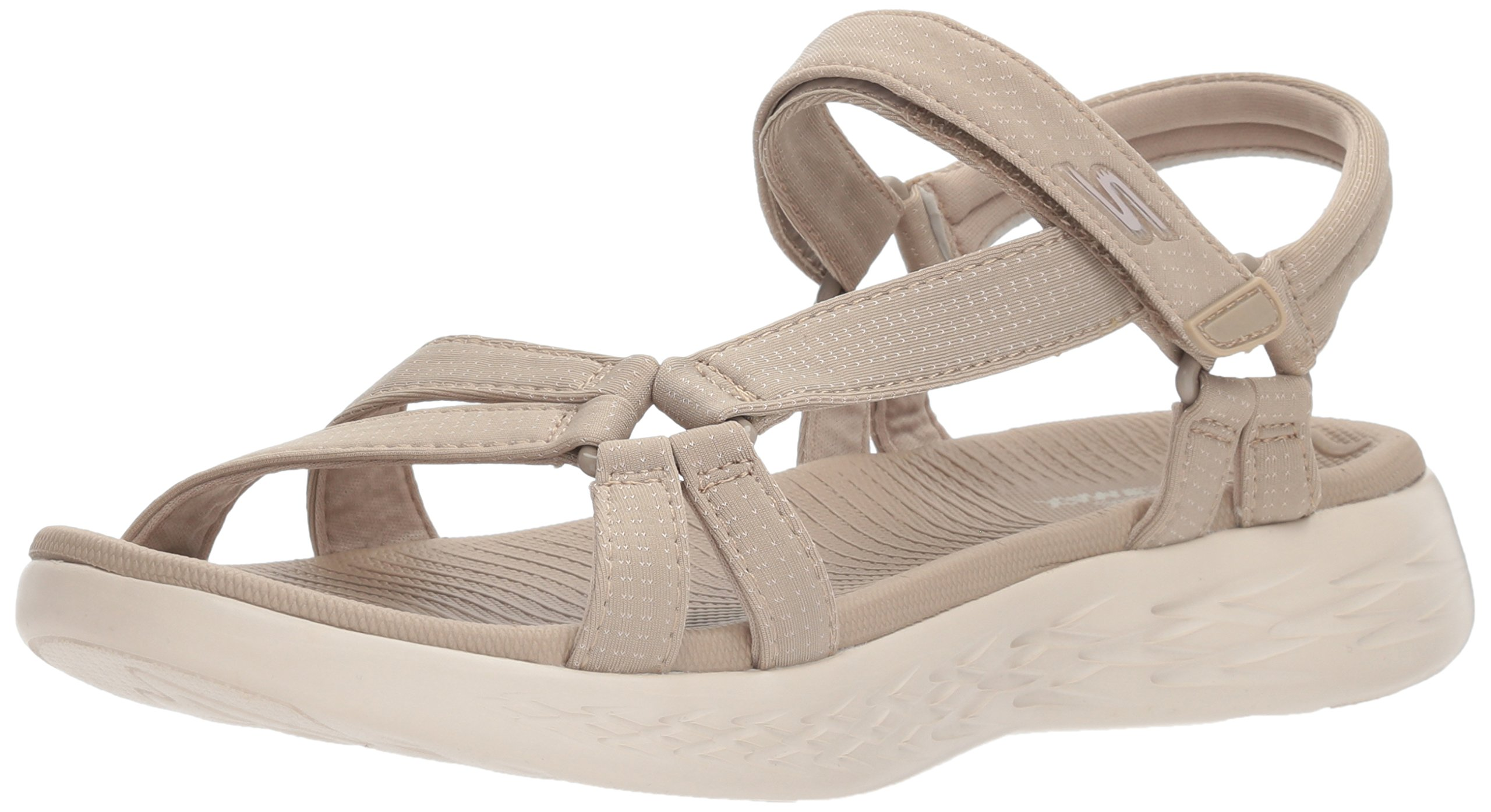 Skechers Performance Women's on-The-Go 600-Brilliancy Wide Sport Sandal, Natural, 7 W US