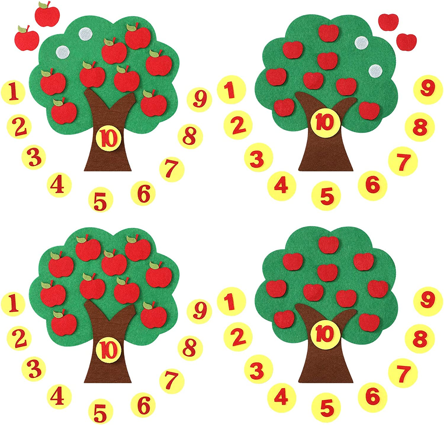 Tatuo 4 Pieces Fruit Apple Tree Felt Toys Math Educational Counting Number Matching Apple Tree with 10 Pieces Detachable Number Felts for Preschool Kindergarten Classroom Craft Supplies