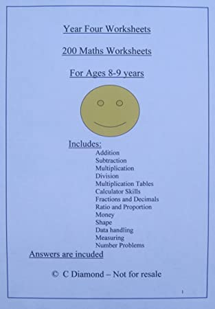 200 Year 4 Maths Worksheets Ks2 Pdf File To Print Out Amazon