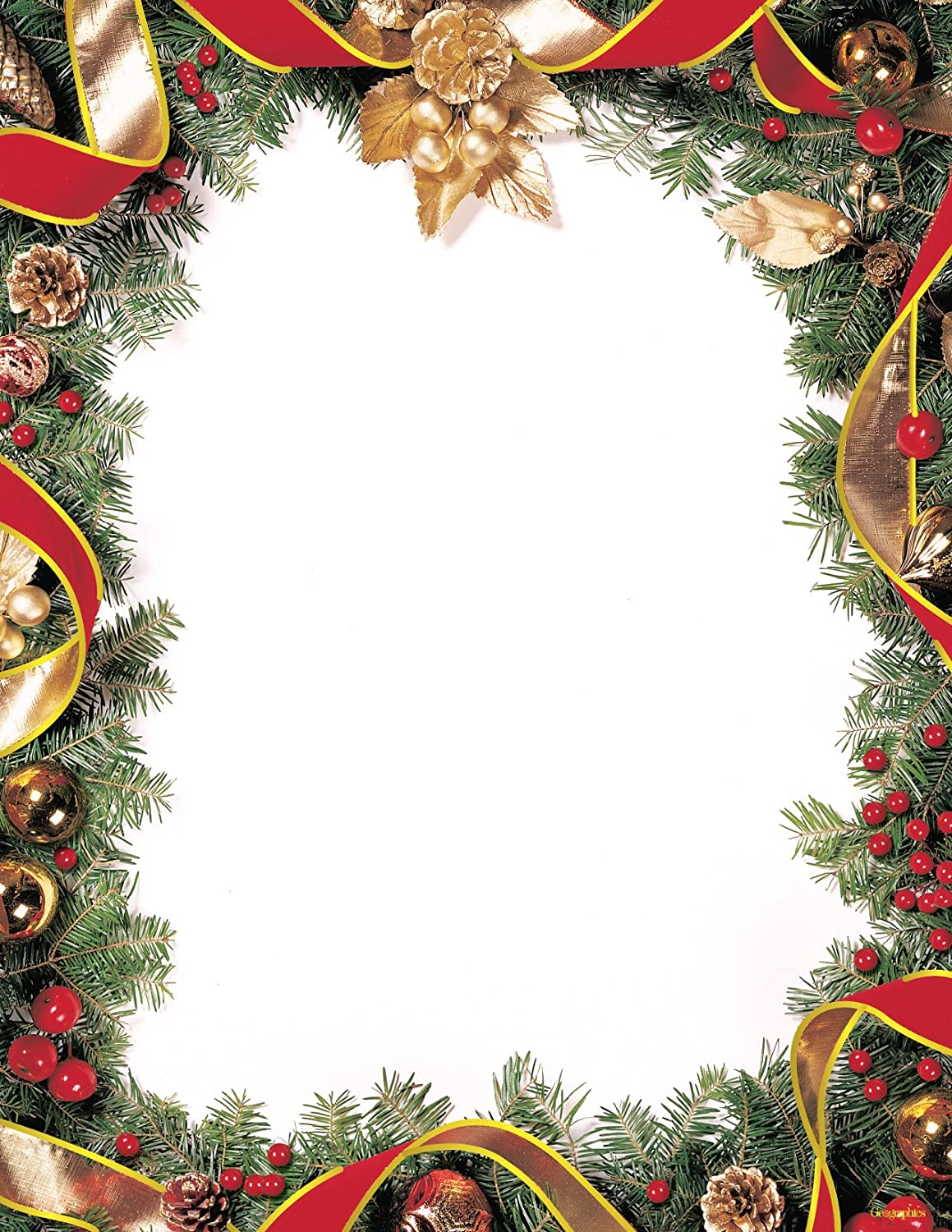 Amazon.com : Geographics Spruce Wreath Gold Foil Letterhead, 8.5 x ...