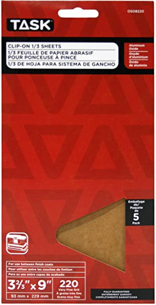 Task Tools OSO8100 3-2//3-Inch by 9-Inch Clip-On 1//3-Sheet Sandpaper 5-Pack 100 Grit