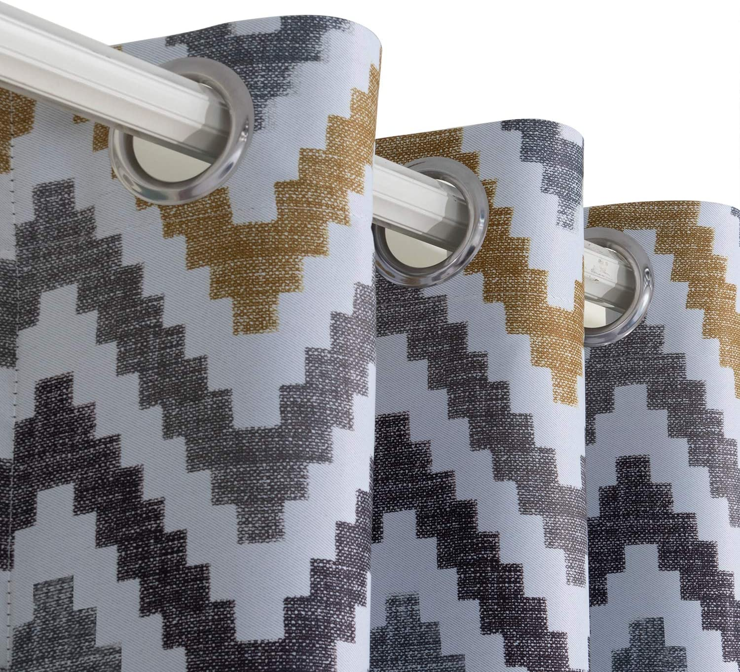 BGment Printed Blackout Curtains for Bedroom with Multicoloured Wave Patterns Grommet Thermal Insulated Room Darkening Curtains for Living Room Set of 2 Panels 52 x 63 Inch, Brown