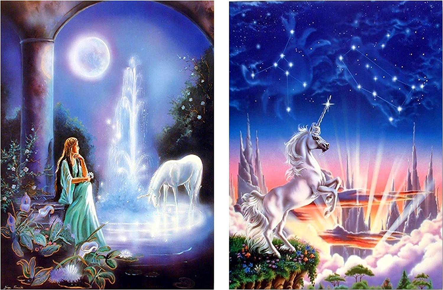 Mythical Wall Decor Unicorn Horse Picture Two Set 8x10 Fantasy Art Print Posters