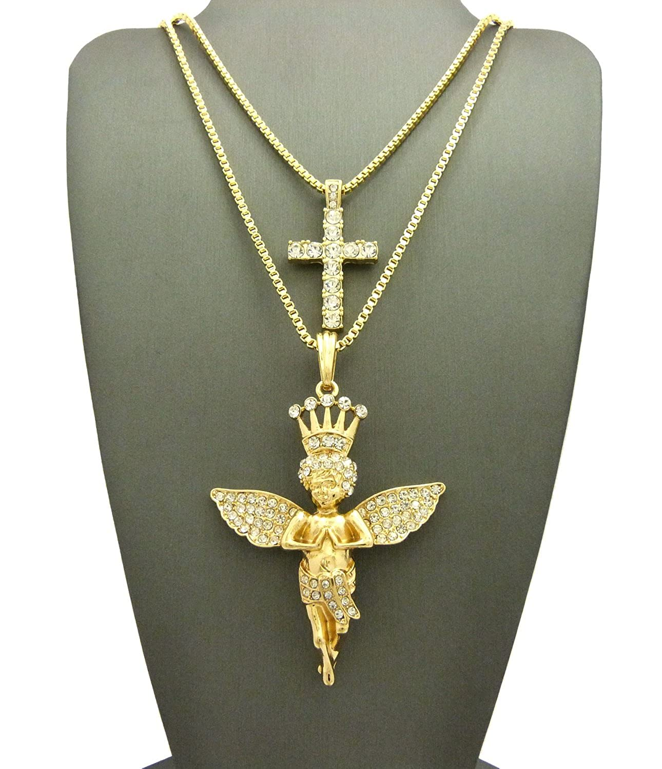 Crown Mens Gold-Tone Two Piece Layered Angel Cross Pendant 24/& 27 Necklaces