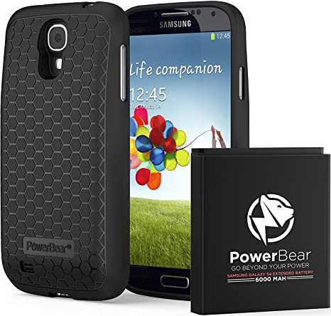 online store 465bb 2a88c PowerBear Samsung Galaxy S4 Extended Battery [6000 mAh] with Cover & Case  [230% Battery]