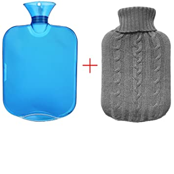 a7a4f89547d0 Image Unavailable. Image not available for. Color  All one tech Transparent  Classic Rubber Hot Water Bottle with Knit Cover ...