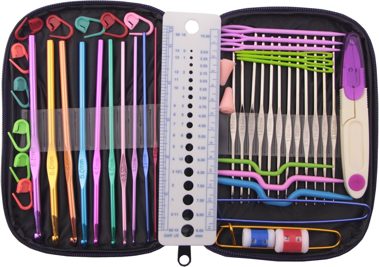 GYBest 49 Pieces Crochet Hooks Yarn Knitting Needles Sewing Tools Full Set Knit Gauge Scissors Stitch Holders with Purple Case 4336923037