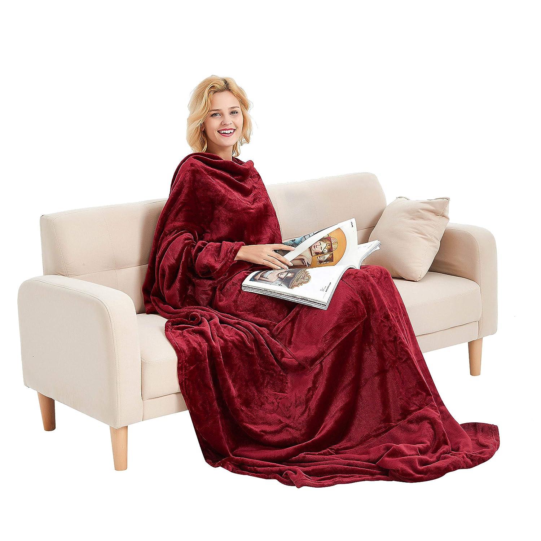 U2SKIIN TV Wearable Blanket Fleece Blanket with Sleeves Throw Pillow (Navy)