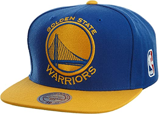 Mitchell /& Ness Golden State Warriors Black /& Gold Metallic Blue Snapback