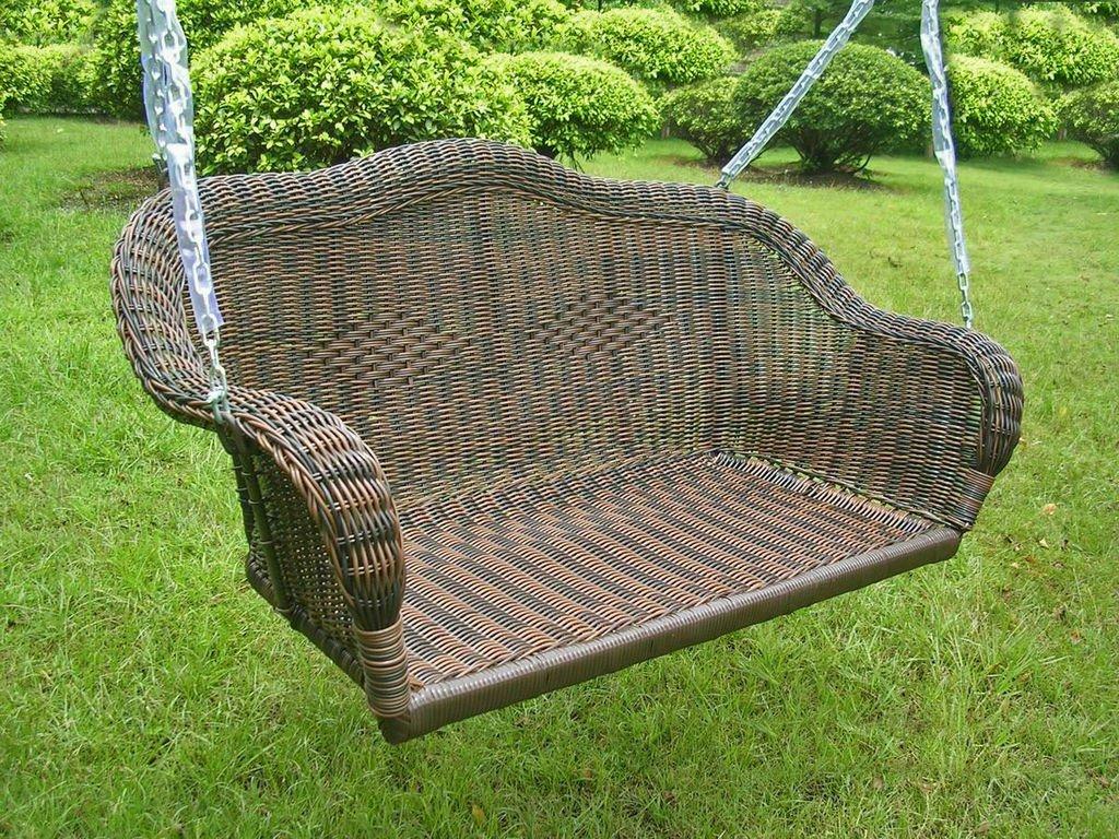 International Caravan 3183-AP-IC Furniture Piece Resin Wicker Hanging Loveseat Swing