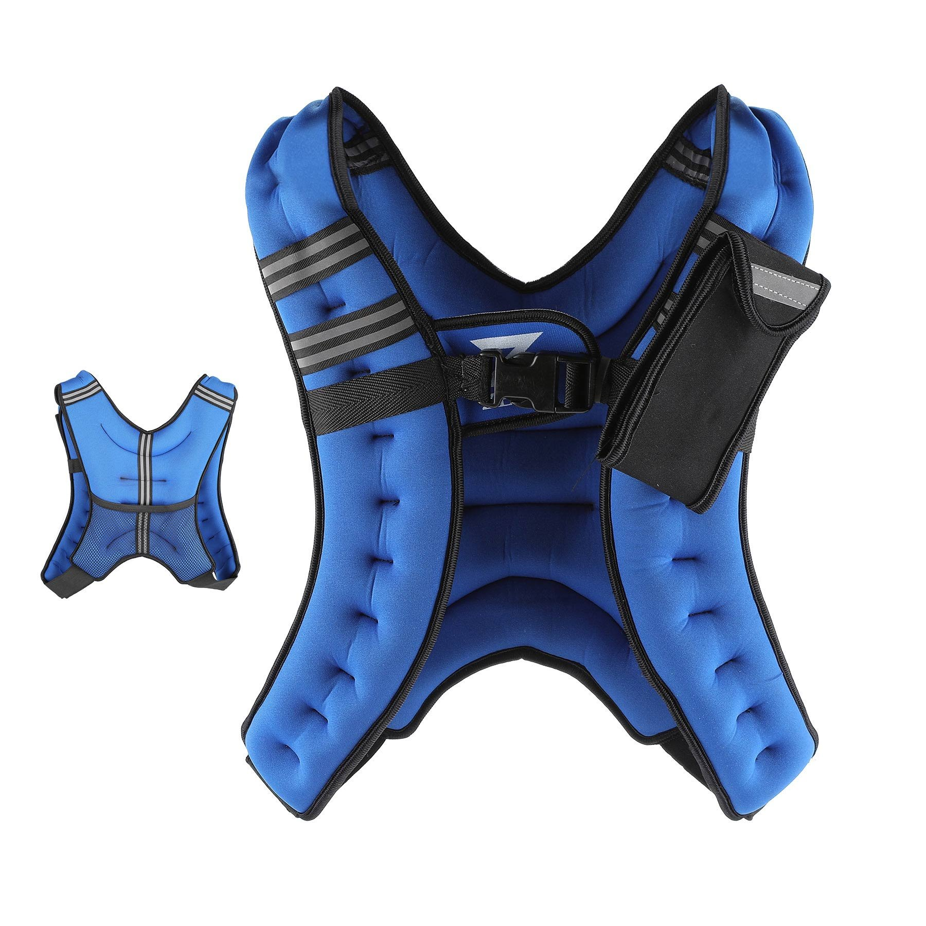 ZELUS Weighted Vest 12 lbs. Weight Vest with Reflective Stripe for Workout, Strength Training, Running, Fitness, Muscle Building, Weight Loss, Weightlifting - Blue