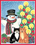 Entertaining with Caspari Snowman with Cats Christmas Cards with Unlined Envelopes, Box of 16
