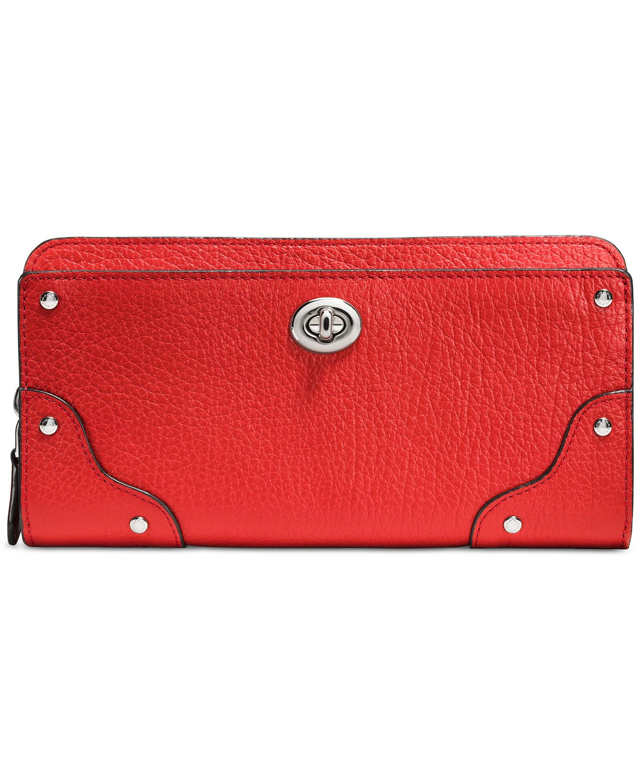 COACH Mercer Accordion Zip Wallet in Grain Leather, Silver/Carmine
