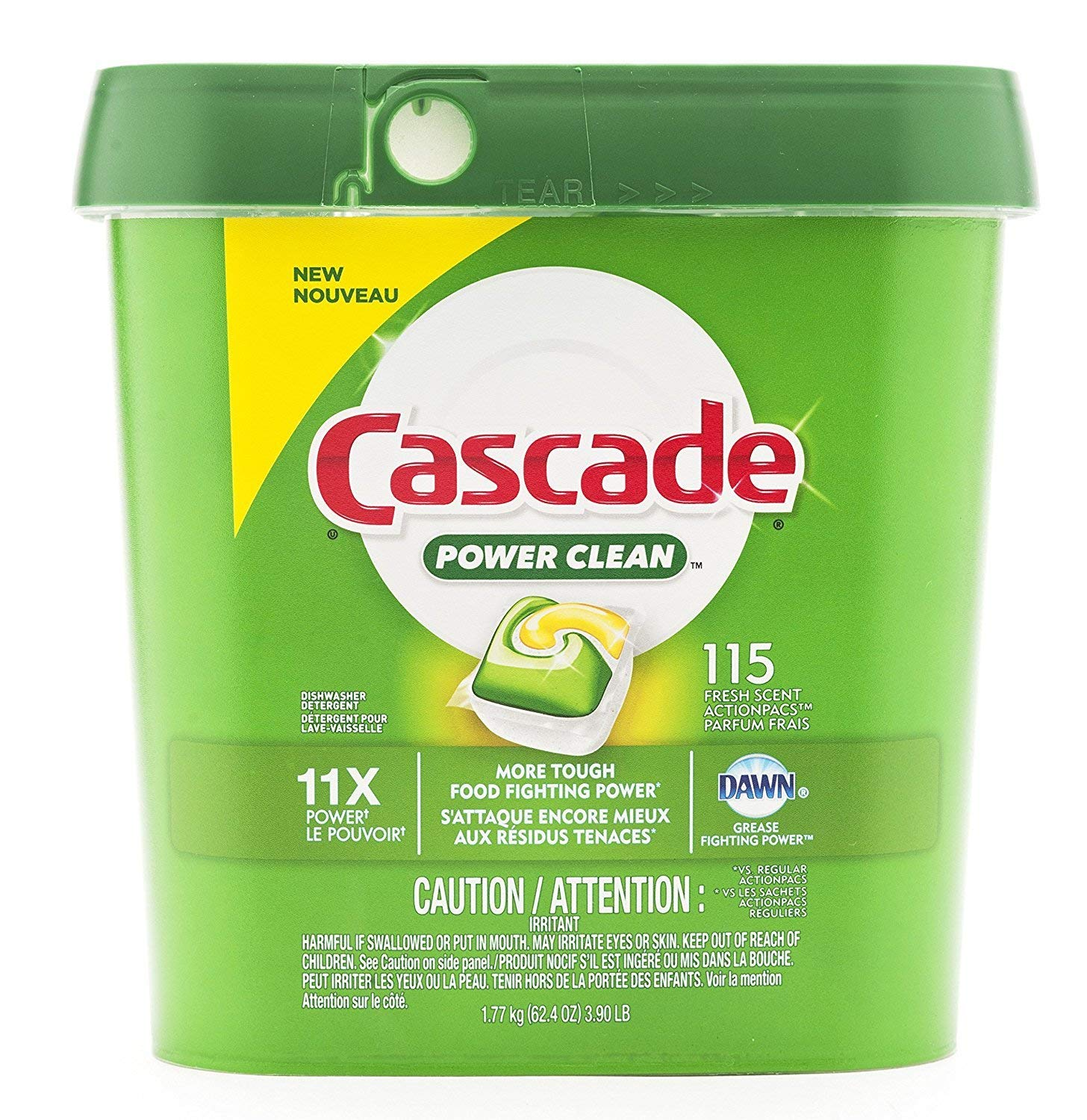 Cascade Power Clean Dishwasher Tabs, 11X Power with Fresh Scent - 115 Count