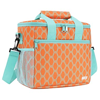 MIER 24 Can Large Capacity Soft Cooler Tote Insulated Lunch Bag Outdoor Picnic Bag, Orange