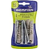 BemFixa Fenda Phillips Bucha de Nylon com Parafuso Cabeça Chata 10 mm, 5 Peças,