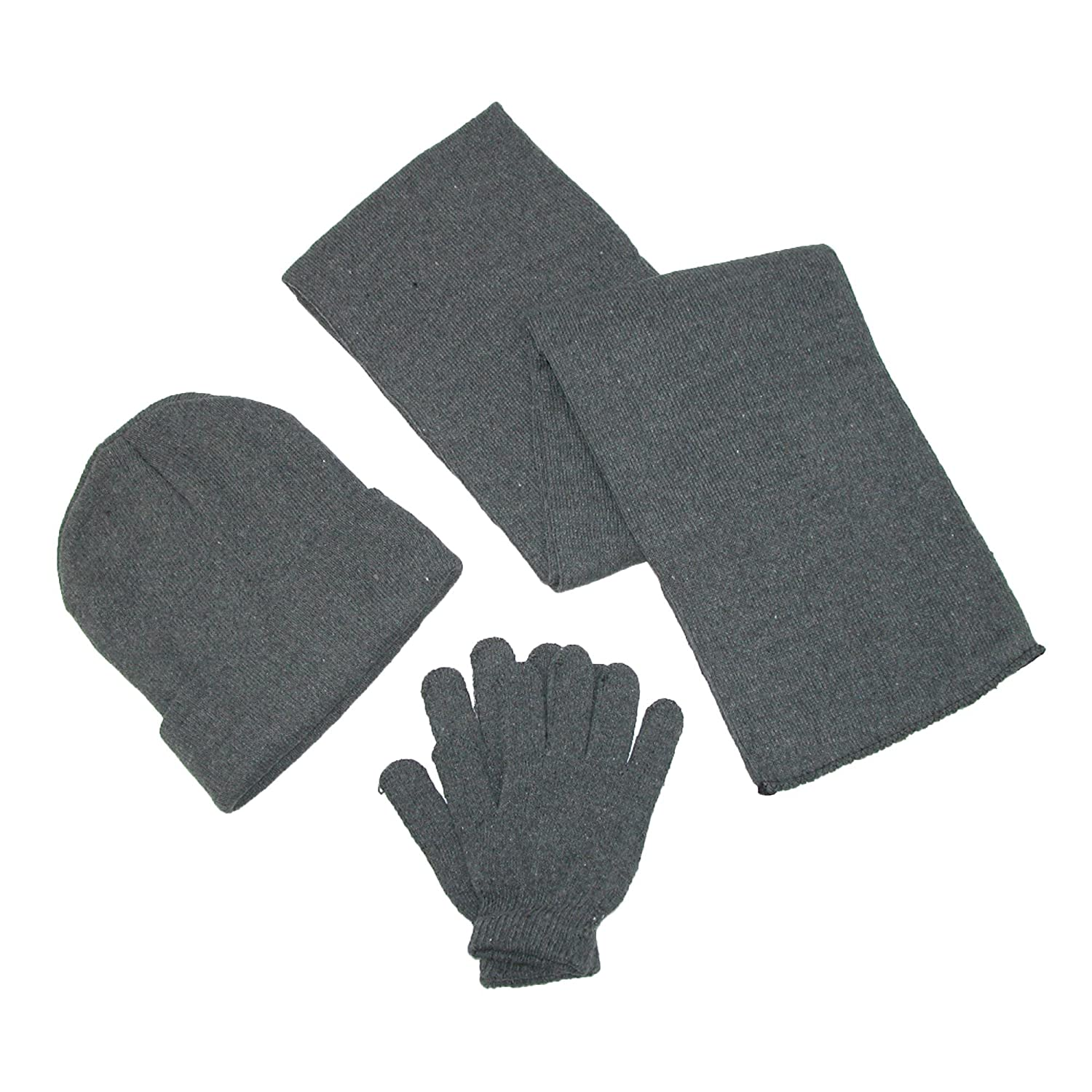 CTM® Men's Knit Solid Hat Gloves and Scarf Winter Set Grey GM-KL3PC-GRY