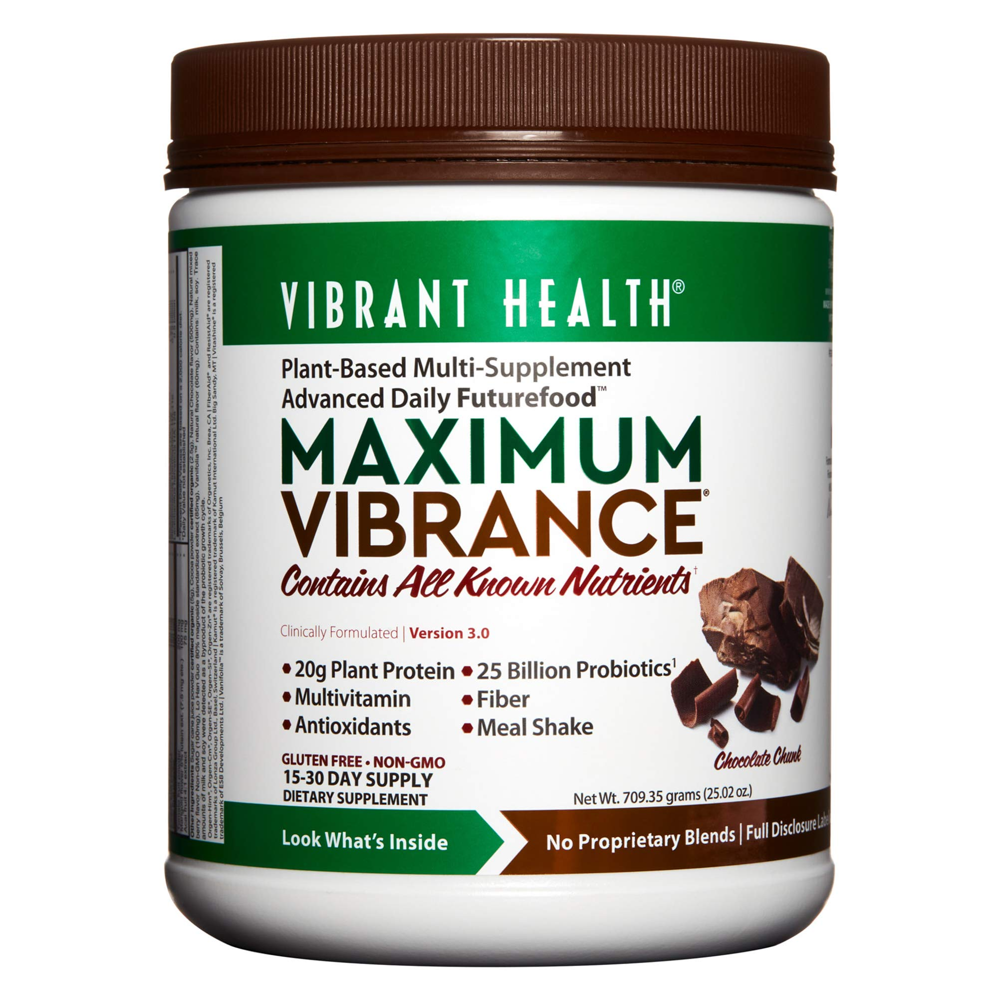 Vibrant Health - Maximum Vibrance, Plant-Based Meal Replacement Rich with Vitamins, Minerals, Antioxidants, and Protein, Gluten Free, Vegetarian, Non-GMO, 15 Servings by Vibrant Health