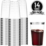 100 Silver Plastic Cups 14 Oz Clear Plastic Cups Tumblers Silver Rimmed Cups Fancy Disposable Wedding Cups Elegant Party Cups with Silver Rim