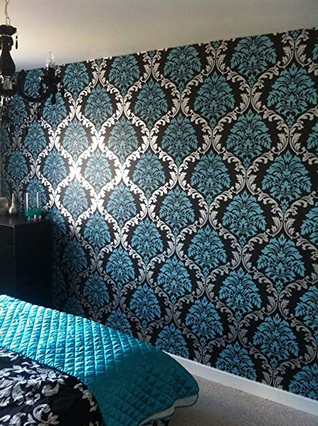 Superbe Damask Wallpaper Teal Silver Black Feature Wall Bedroom Living Room