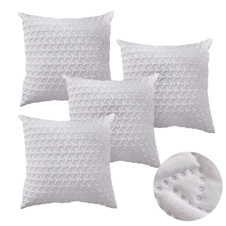 4 Pcs White Cushion Cover Cotton Linen Throw Pillow Case
